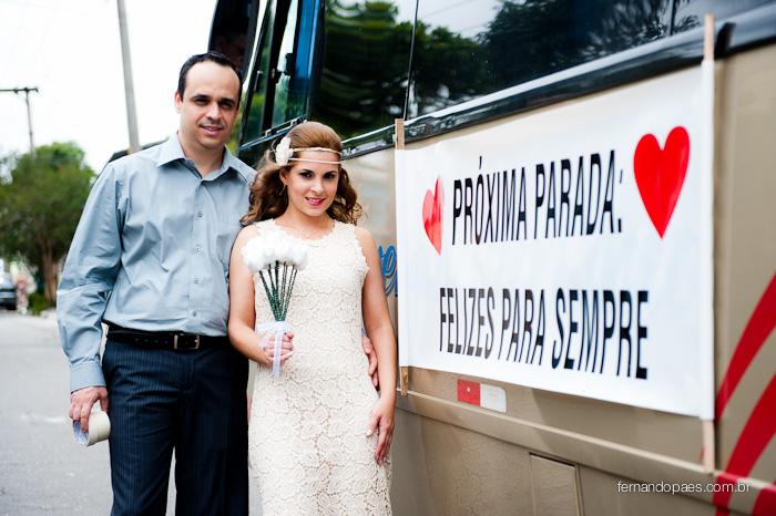 Noiva Chegando de ônibus
